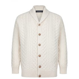 A703 Mens Woodford Aran Cardigan - Natural